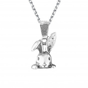 Solid Sterling silver 925 Curb Chain 41cm Or 46cm . With Tibetan Silver Detailed Bunny Rabbit.