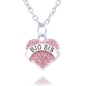 Family Jewellery Silver Alloy Pink Crystal Love Heart Big Sister Charm Pendant Necklace Women Girl Gift