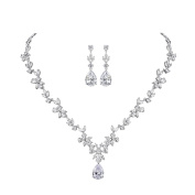 MASOP Cluster Leaf Necklace Earrings Bridal Set Clear AAA Cubic Zirconia Silver-Tone With Teardrop Pendant,Jewellery for Wedding,Events,Party