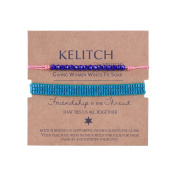 KELITCH 2pcs/Set Blue Seed Beads Chain Blue Crystal Stone Pink Thin Cord Rope Simple Style Bracelet