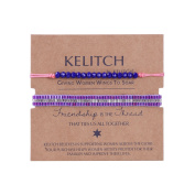 KELITCH 2pcs/Set Purple Silver Seed Beads Chain Blue Crystal Stone Pink Thin Cord Rope Simple Style Bracelet
