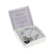 First Holy Communion Adjustable Charm Bracelet with Prayer and Gift Box