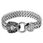 Oidea Mens Vintage Stainless Steel Bicycle Chain Large and Heavy Lion Head Biker Bangle Bracelet