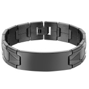 Oidea Mens Stainless Steel Classic 16MM Wide Bangle Cuff Bracelet for Birthday Gifts,Black,7.9 Inch