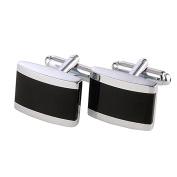 DonDon® Men's Cufflinks Stainless Steel Silver / Black - Delivered in Velvet Bag