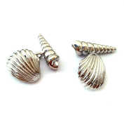Beautifully Detailed Chain Style Beach Shells Cufflinks X2AJ659