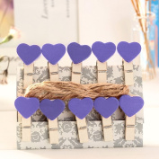 Zhi Jin 10pcs/Set Cute Wooden Clip Pegs Clothespins for Photo Album Postcard Note Paper Decor Clamp with Rope and 2Pcs Non-trace hooks, Pruple Heart