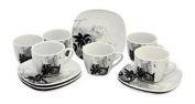 Van Well Black Flower Espresso Set - 6 Cups With 6 Saucers - White Porcelain