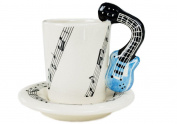 Guitar 60ml Blue Handmade Ceramic Espresso Cup 8cm X 5cm
