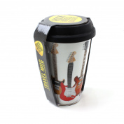 Insulated Travel Coffee Tea Latte Thermal Rubber Silicone Lid Guitar Mug