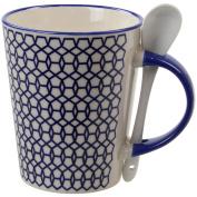 Geometric Blue Ceramic Drinking Coffee Tea Cup Mug With Spoon Kitchen Drinkware