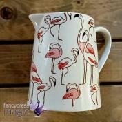 Gisela Graham Vintage Large 18cm Ceramic Pink Flamingo Print Serving Jug Pitcher