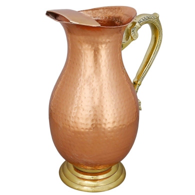 Handmade Indian Copper Water Pitcher - Ayurvedic Water Pitcher - Copper Gifts