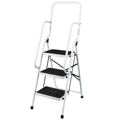 3 Step Ladder Handrail Non Slip Safety Tread Foldable Rail New By Home