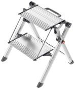 Hailo 4310-100 Aluminium Mini Comfort Folding Steps-2 Large Aluminium Treads
