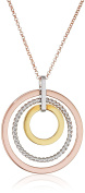 Fiorelli Silver Rose White Rhodium and Gold Plating Triple Open Disc Pendant on a Chain of Length 76cm