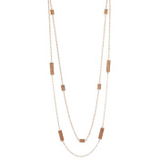 Lux Accessories Rose Gold Sticker Glitter Station Break Double Row Long Necklace