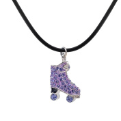 CheersLife Crystal Dynamic Roller Skate Pendant Necklace Jewellery for Gilrs Purple