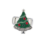 Lux Accessories Silver Tone Festive Holiday Christmas Xmas Tree Stretch Ring