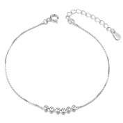 Sweetiee 925 Sterling Silver Anklet Six Small Beads Platinum 200mm for Woman