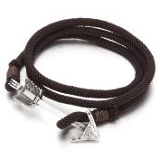 Mens Women Multi-strand Brown Cotton Rope Wrap Bracelet Wristband with Arrow Hook Closure
