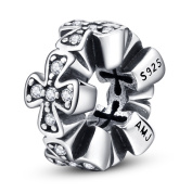 Cross Charms 925 Sterling Silver Spacers Charm Stoppers For Bracelets Necklaces Jewellery