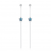 """""""Shooting Star"""" Long Dangle Blue Star Stud Earrings for Women with Crystals, Unusual Birthday Gifts for Girlfriend, Romantic Jewellery Gifts"""
