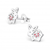 Rabbit Stud Earrings - 925 Sterling Silver - Size