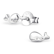 Whale Stud Earrings - 925 Sterling Silver - Size(tiny)