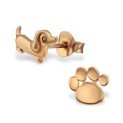 Dog & Paw Stud Earrings - 925 Sterling Silver - Size