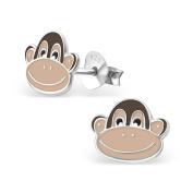Monkey Stud Earrings - 925 Sterling Silver - Size