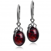 Cherry Amber Sterling Silver Classic Small Grape Leaves Leverback Earrings