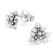Laimons Ladies' Earrings Ladies' Jewellery flower orchid oxidised 925 Sterling silver