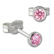 SilberDream Earrings Ring for Women with Pink 3 mm 925 Sterling Silver Stud Earrings SDO5533 A