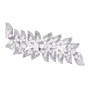 FANZE Women's Austrian Crystal Simulated Pearl Flower Leaves Vine Large Wedding Bridal Hair Comb
