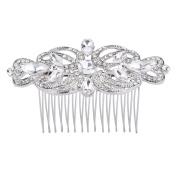 FANZE Women's Austrian Crystal Marquise Shape Teardrop Glamourous Wedding Bridal Hair Comb