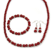 6mm/ 8mm Dark Red Ceramic Bead Necklace, Flex Bracelet & Drop Earrings With Crystal Ring Set In Silver Tone - 43cm L/ 5cm Ext