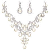 FANZE Women's Austrian Crystal Cream Simulated Pearl Gorgeous Flower Vine Necklace Earrings Wedding Jewellery Set
