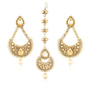 I Jewels Gold Plated Earring Set with Maang Tikka for Women TE117FL