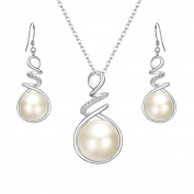 Fanze 925 Sterling Silver CZ Bridal Cream Freshwater Cultured Pearl Spiral Twist Necklace Dangle Earrings Jewellery Set
