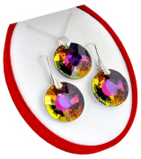 Crystals & Stones * Sun * * Volcano * Jewellery Set Earrings and Necklace with Elements – Miraculous with Elegant Schmuscketui