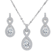 Clearine Women's 925 Sterling Silver Delicate Elegant Cubic Zirconia Infinity Pendant Necklace Dangle Earrings Set