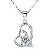 Fanze 925 Sterling Silver Cubic Zirconia Double Layer Askew Love Heart Pendant Necklace