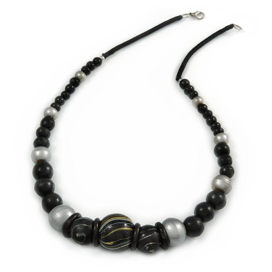 Black/ Silver Wood Bead Necklace - 60cm L