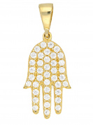 MyGold Hamsa Pendant (Chain Not Included) Charm Yellow Gold 333 gold with stones 10 mm Zirconia 39 x 22 mm Hamsa Amulet Gold Hand Rowena Pendant for Girls Women V0013817