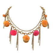 Ornamenta Fashion Beaded Choker Necklace with Pompoms Tassels for Girls