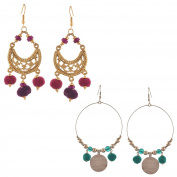 Zephyrr Fashion Hook Beaded Earrings with Pompoms Pearls Combo of 2
