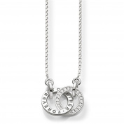 """Thomas Sabo Women's """"Together Forever"""" Silver Zirconia Necklace of Length 40-45cm SCKE150159"""
