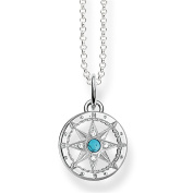 Thomas Sabo Women's Silver Simulated Turquoise Zirconia Necklace with Pendant of Length 40-42cm SCKE150057