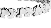 Tuscany Silver Sterling Silver Rhodium Plated Elephant Bracelet of 19cm/7.5""